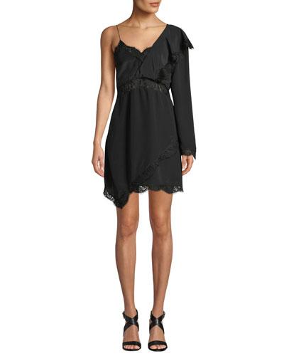 Haven Long-Sleeve Silk Short Dress w/ Lace