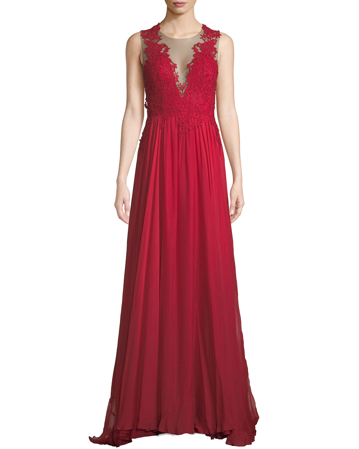 Lova Plunge-Illusion Low-Back Gown w/ Tulle & Lace
