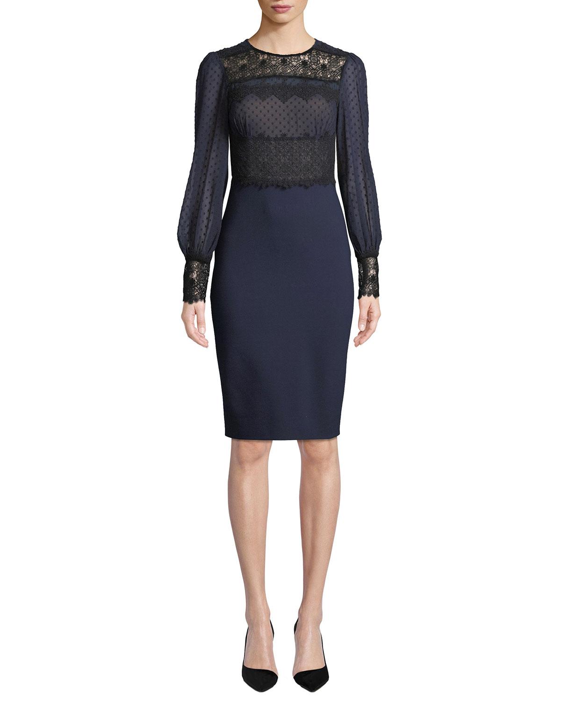 Lillian Sheer Dot & Lace Long-Sleeve Dress