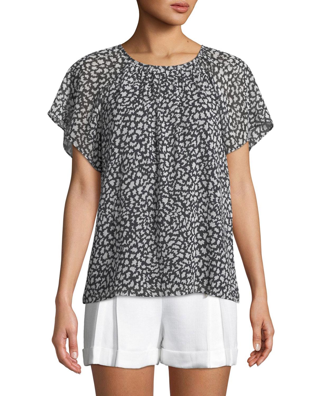 Club Monaco Danicah Printed Flutter-Sleeve Top, BLACK PATTERN