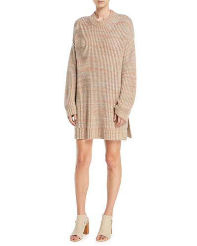 Orra Crewneck Oversized Ribbed Melange-Knit Pullover Sweater Tunic