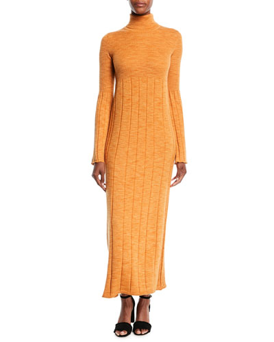 Clementine Space-Dye Long Extrafine Wool Turtleneck Dress