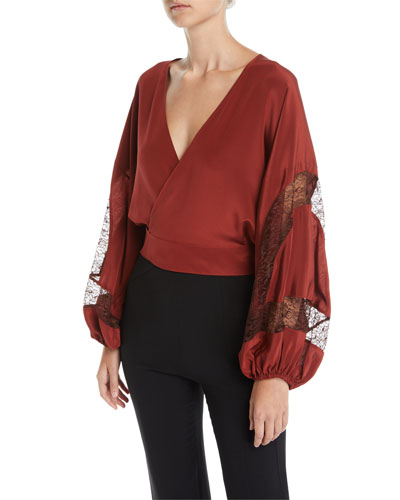Talia Silk Wrap Top with Lace Inserts