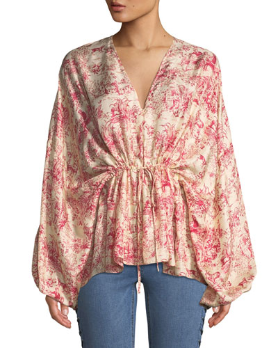 Angela Printed Silk V-Neck Top with Cinched Waist