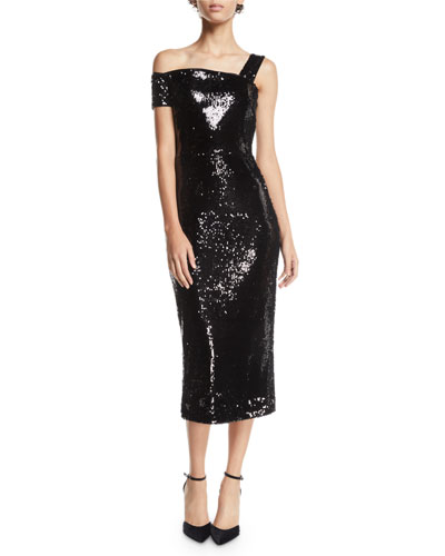 Ella Double-Sided Sequin One-Shoulder Dress