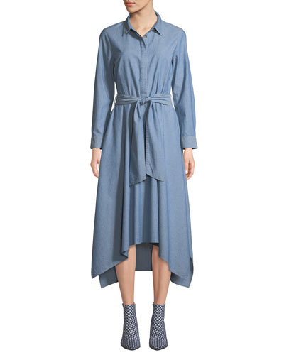 Long-Sleeve Button-Front Belted Chambray Shirtdress