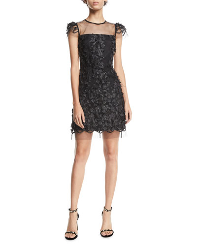 Nickie Tulle Feather & Embroidery Dress