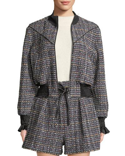 Textured Tweed Zip-Front Track Jacket