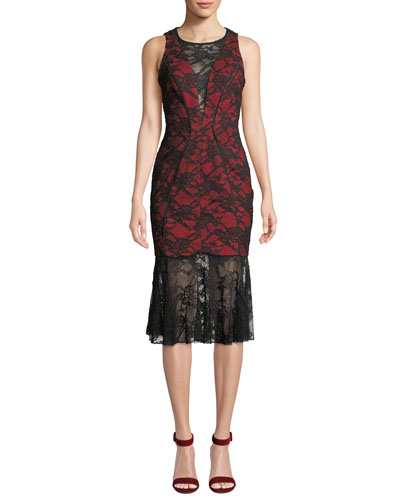 Lillian Italian Stretch Lace Midi Dress