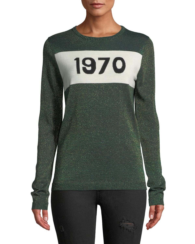 1970 Metallic Graphic Wool Sweater