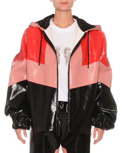 Faux-Leather Colorblock Zip-Front Jacket