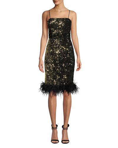 f1ecb85ed67 Elle Sequin Velvet Feather-Hem Dress