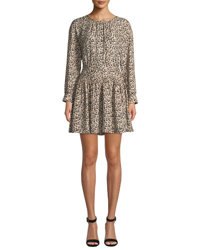 Long-Sleeve Silk Leopard-Print Short Dress