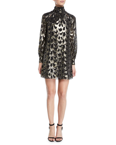 Sherie Long-Sleeve Metallic Silk Chiffon Dress