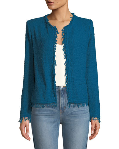 Shavani Frayed Boucle-Knit Jacket