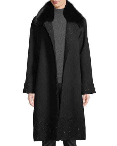 Long Sequin Coat w/ Fur Collar