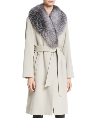 Fur Shawl-Collar Long Wrap Coat
