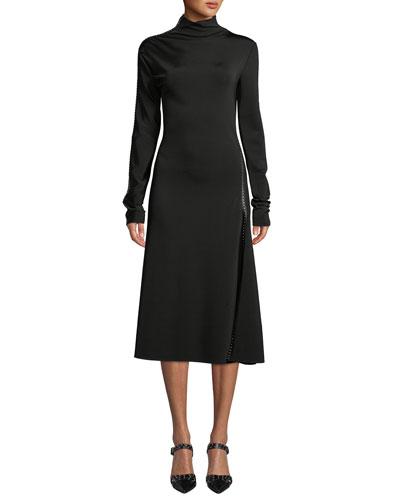 Studded Turtleneck Long-Sleeve Midi Dress