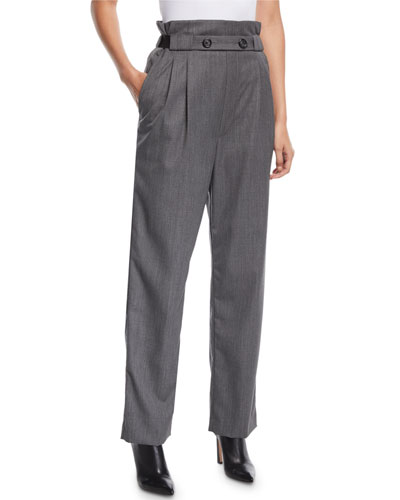Pleated Gabardine Wool Pull-On Pants
