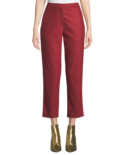 Poppy Straight-Leg Cropped Wool Pants