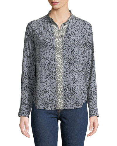 Christie Long-Sleeve Cheetah Animal-Print Silk Blouse