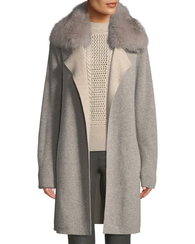 Cashmere Double-Face Coat w/ Fur Collar