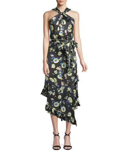 Asymmetrical Floral Ruffle Halter Midi Dress