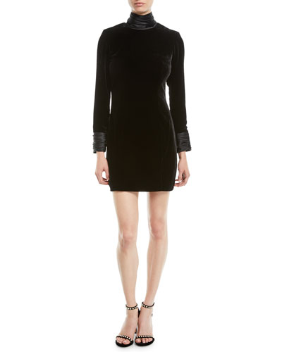 Felicity Turtleneck Velvet Long-Sleeve Mini Dress