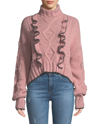 Edna Ruffle Turtleneck Cropped Sweater
