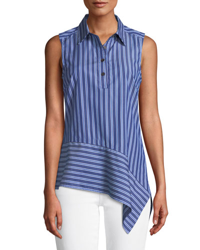 Striped Asymmetrical Sleeveless Shirt