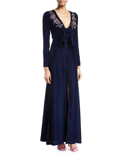 V-Neck Long-Sleeve Velvet Evening Gown w/ Sequined Trim