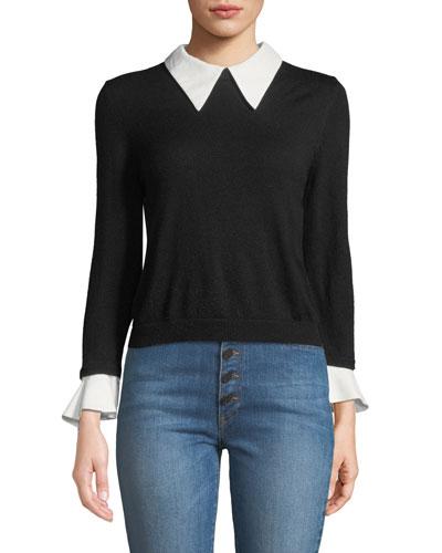 Aster Collar Ruffle-Cuff Knit Sweater