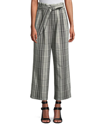 Farrel Paperbag Waist Pleated Wide-Leg Windowpane Check Pants