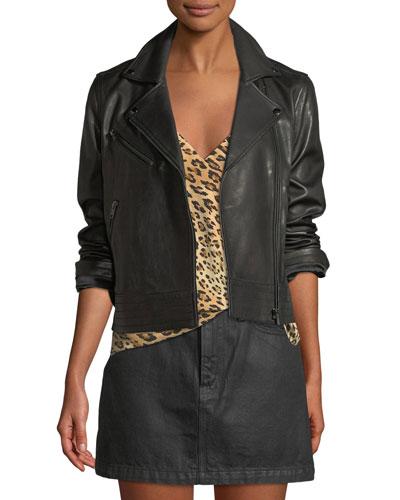 Zip-Front Slim Leather Moto Jacket