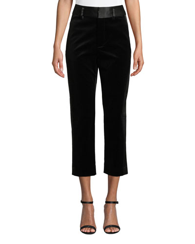 Velvet Tux Cropped Straight-Leg Pants