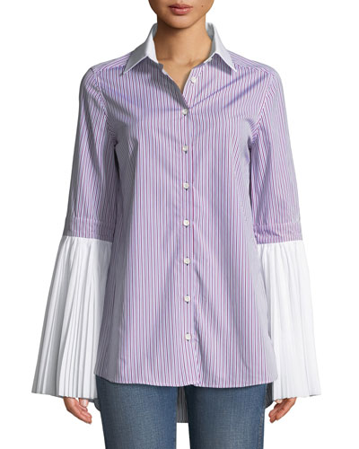 Pleated Button-Front Striped Cotton Shirt