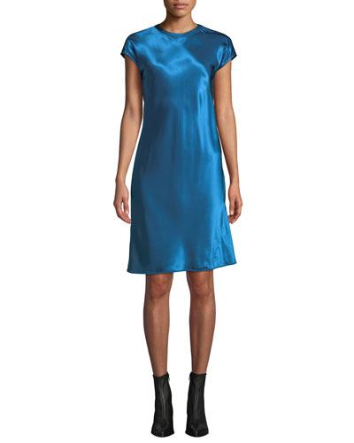 Cap-Sleeve Viscose Short Dress