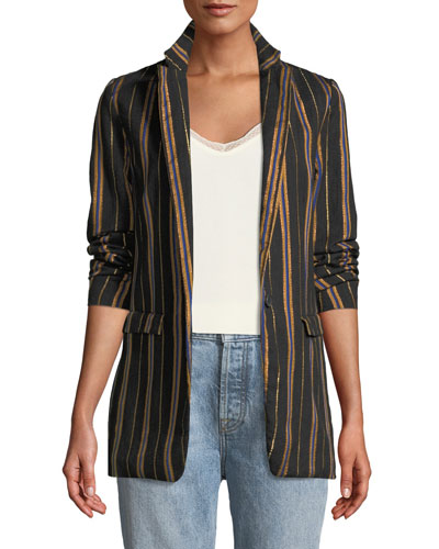 Masai Striped Metallic Single-Button Jacket