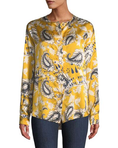 Collarless Afrika-Print Silk Button-Front Shirt