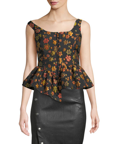 Boat-Neck Sleeveless Hook-Front Floral-Jacquard Top