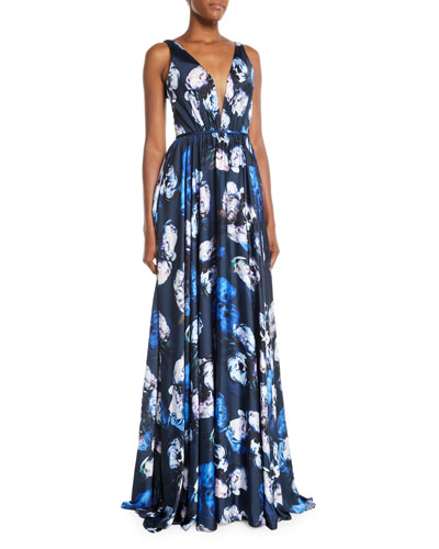 Sleeveless Digital Floral-Print Charmeuse Gown