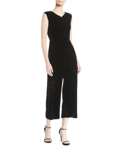 Ruched Velvet Wide-Leg Jumpsuit