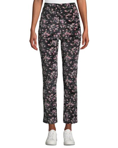 Tilda Floral-Print Velvet Skinny Ankle Pants