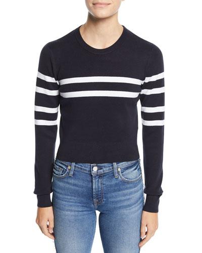 Nala Striped Cutout-Back Cropped Sweater
