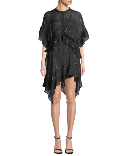 Revolve Ruffle Metallic Asymmetric Dress