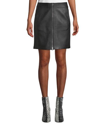 Heidi A-Line Lamb Leather Mini Skirt