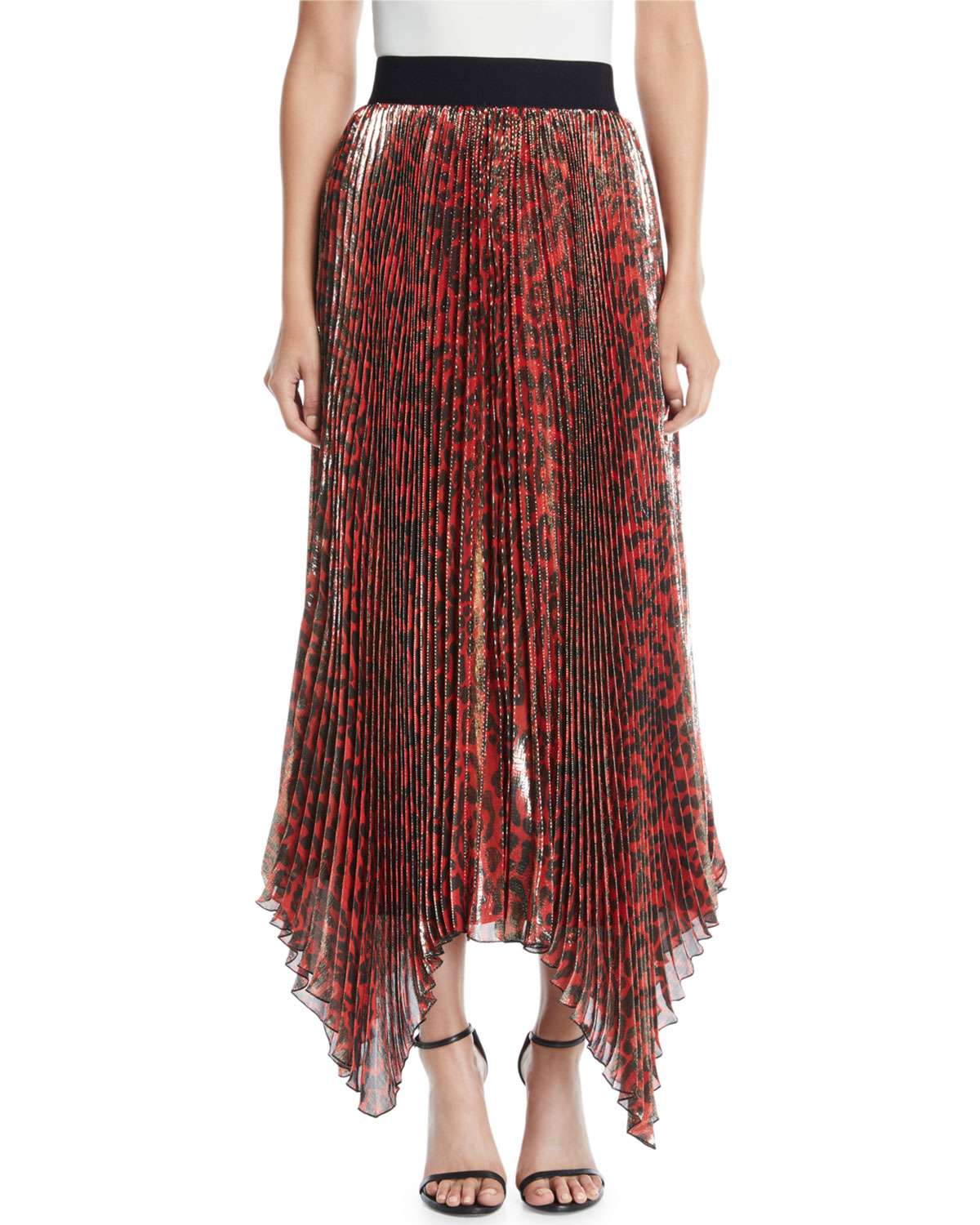 Katz Shimmery Leopard Pleated Maxi Skirt