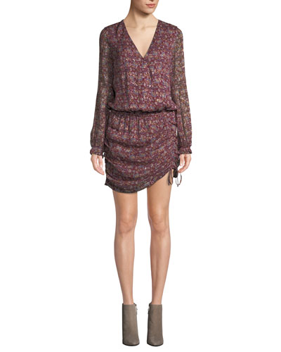 Vina Printed Ruched Mini Dress