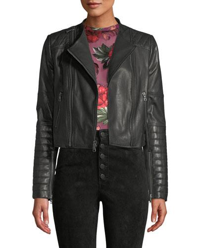 Gamma Collarless Leather Biker Jacket