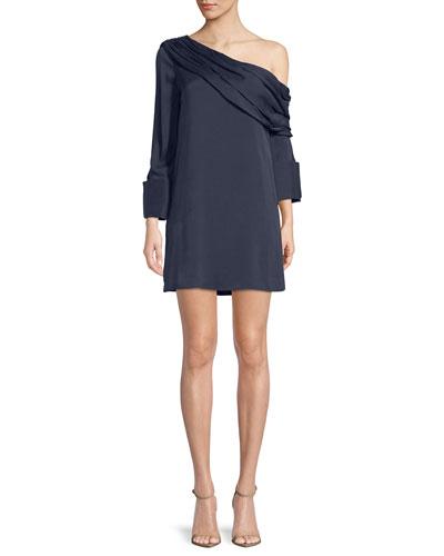 Serina One-Shoulder Draped Silk Dress